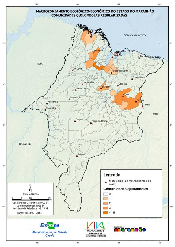 Comunidades quilombolas regularizadas no Estado do Maranhão-(2013)
