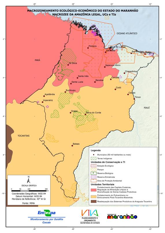 Unidades territoriais do MacroZEE da Amazônia Legal e espaços territoriais protegidos referentes ao Estado do Maranhão-(2013)