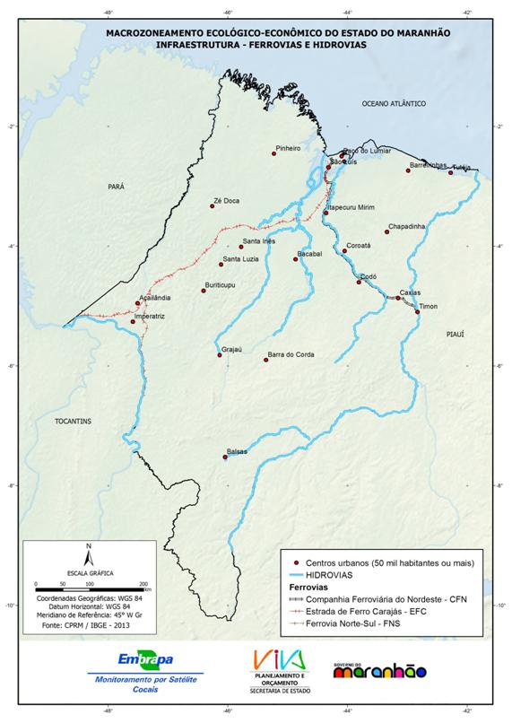Distribuição das ferrovias e hidrovias - (2013)