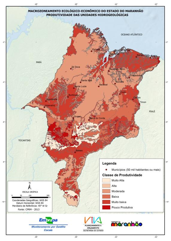 Produtividade das unidades hidrogeológicas do Estado do Maranhão - (2013)