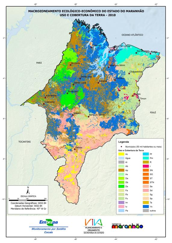 Mapa de uso e cobertura da terra no ano de 2010