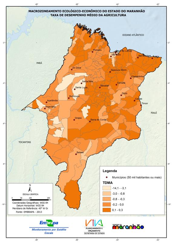 Taxa de desempenho médio da agricultura dos municípios do Estado do Maranhão