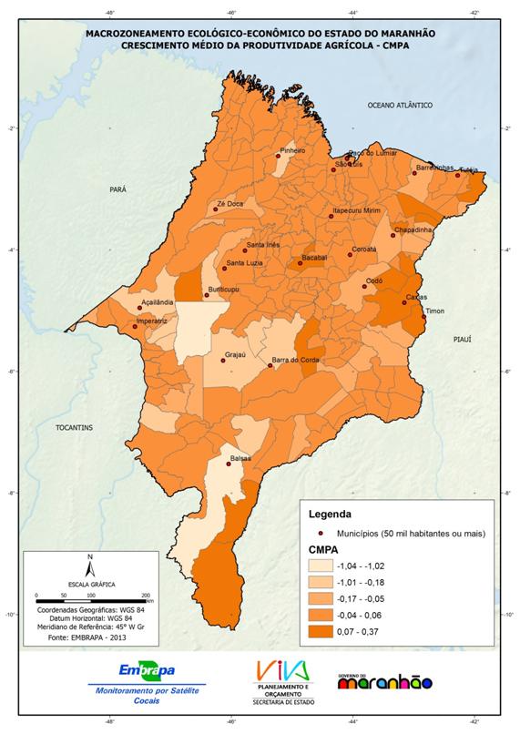 Crescimento médio de produtividade agrícola (CMPA)dos municípios do Estado do Maranhão