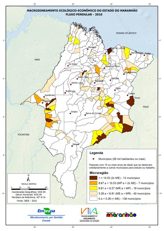 Fluxo pendular entre municípios para estudo ou trabalho no Estado do Maranhão-(2010)