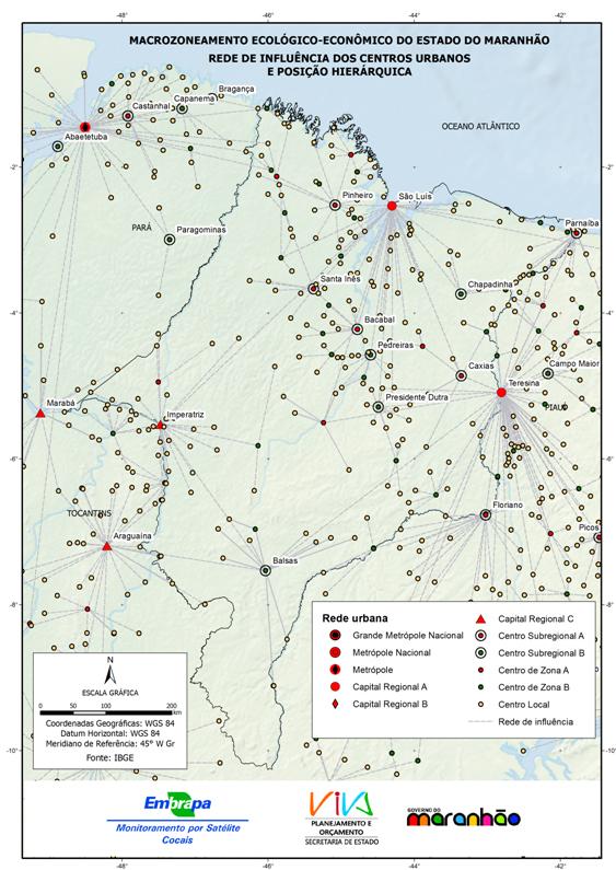 Rede de influência dos centros urbanos maranhenses-(2007)