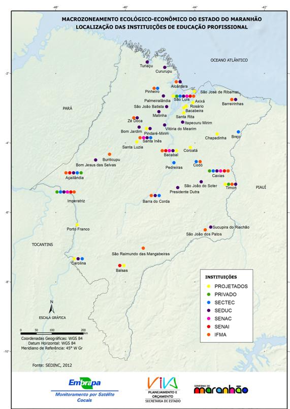 Mapa de localização das instituições de educação profissional no Estado do Maranhão-(2012)