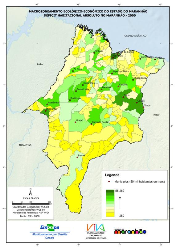 Déficit habitacional absoluto no Estado do Maranhão, em 2000