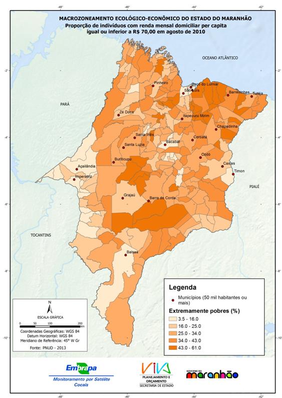 Residentes em domicílios com renda familiar mensal menor que R$ 70-(2013)