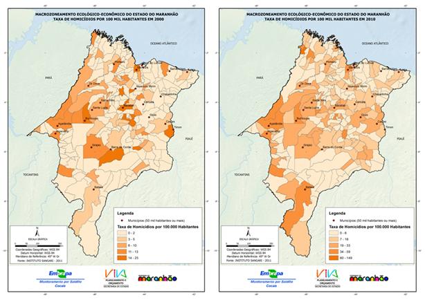 Evolução da taxa de homicídios por 100 mil habitantes nos municípios maranhenses entre 2000 e 2010