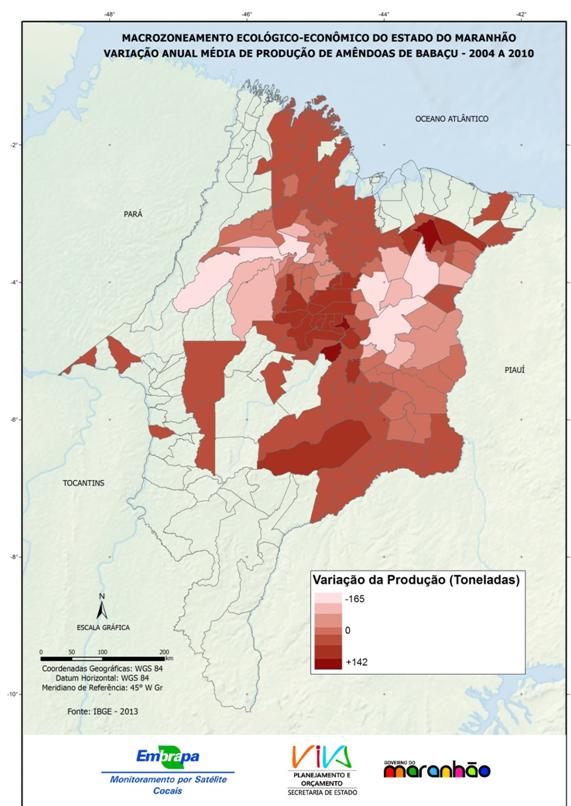 Variação anual média da produção de amêndoas de babaçu no Estado do Maranhão durante o período