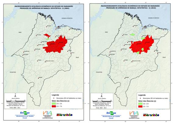 Vetor de desvios da estatística G referente à produção de amêndoas nos anos de 2004 e 2010