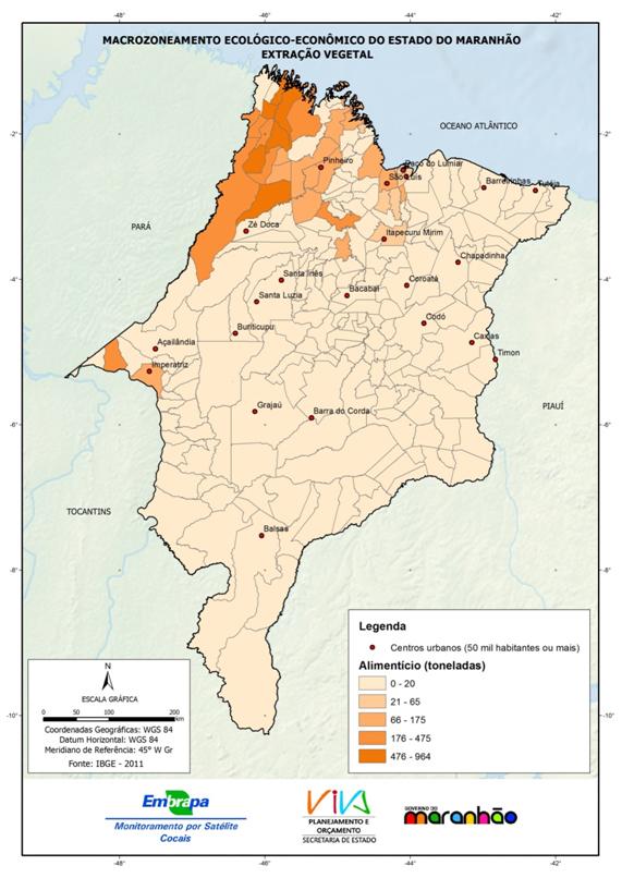 Produção da extração vegetal do Estado do Maranhão – alimentícios-(2011)