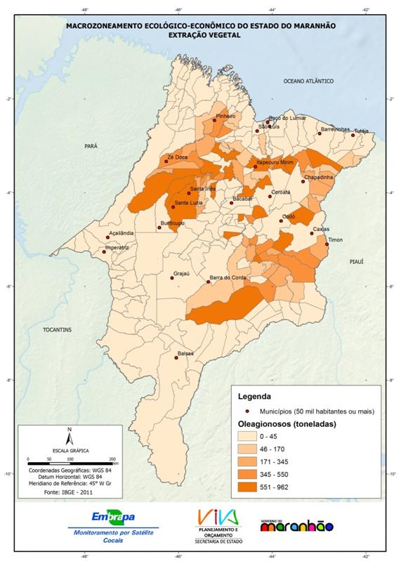 Produção da extração vegetal do Estado do Maranhão – oleaginosos-(2011)