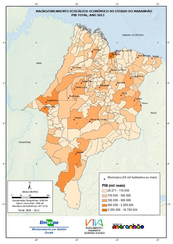 Distribuição espacial do PIB total do Estado do Maranhão para o ano de 2011