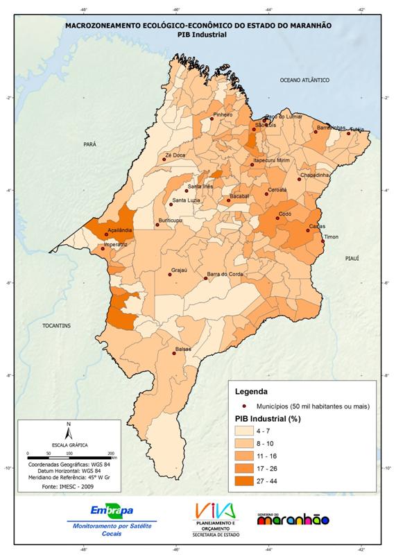Distribuição do PIB industrial pelos municípios no Estado do Maranhão-(2009)