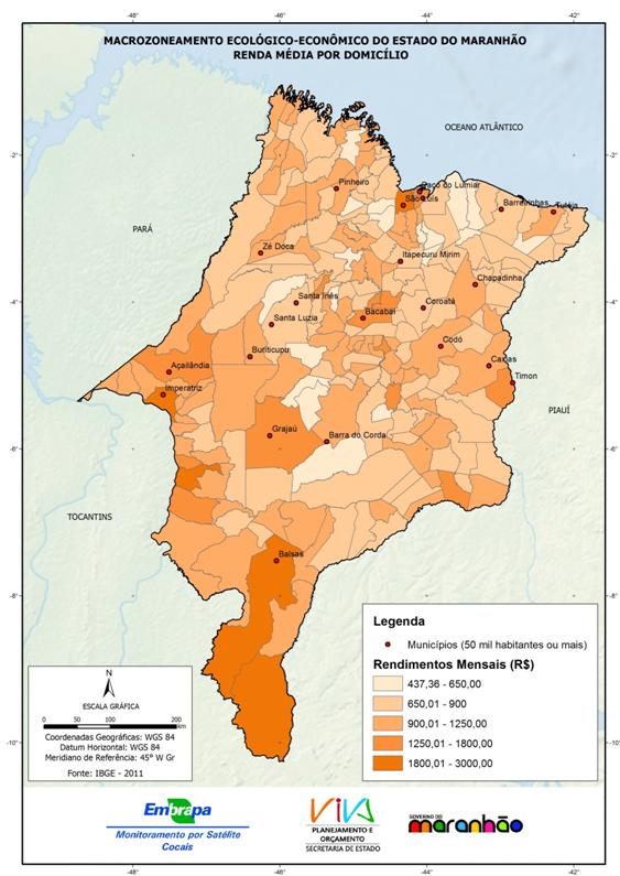 Renda média por domicílio no Estado do Maranhão-(2011)