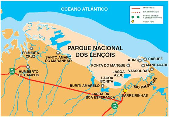 Localização do Parque Nacional dos Lençóis, Maranhão