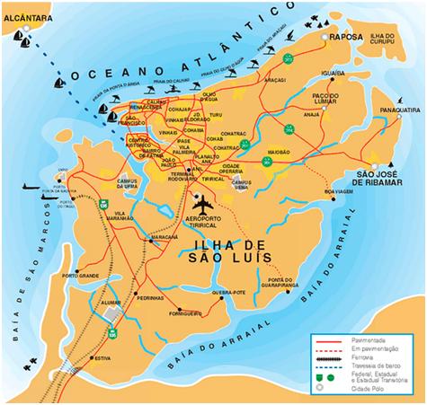 Localização dos pontos turísticos em São Luís, MA