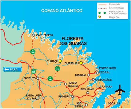 Localização da Floresta dos Guarás