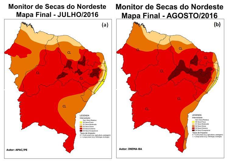 Resultado de imagem para mapa do Monitor seca nordeste agosto