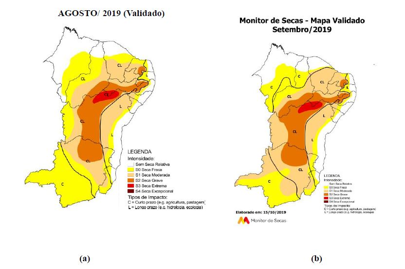 Figura 02. Monitor de Secas do Nordeste: (a) Agosto/2019 e (b) Setembro/2019 Validado.